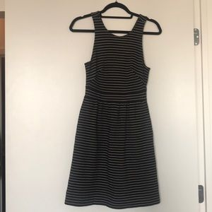 Black/white striped Madewell dress with pockets